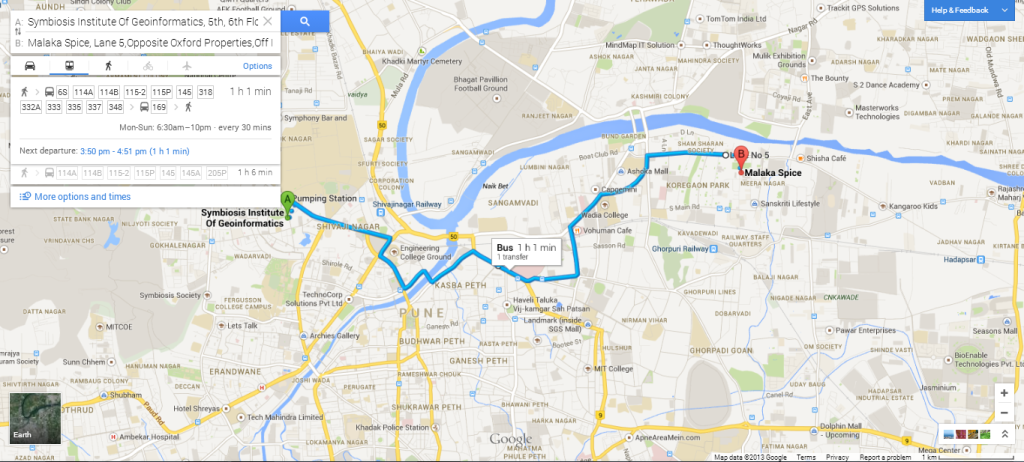 Bus routes in the new Google Maps