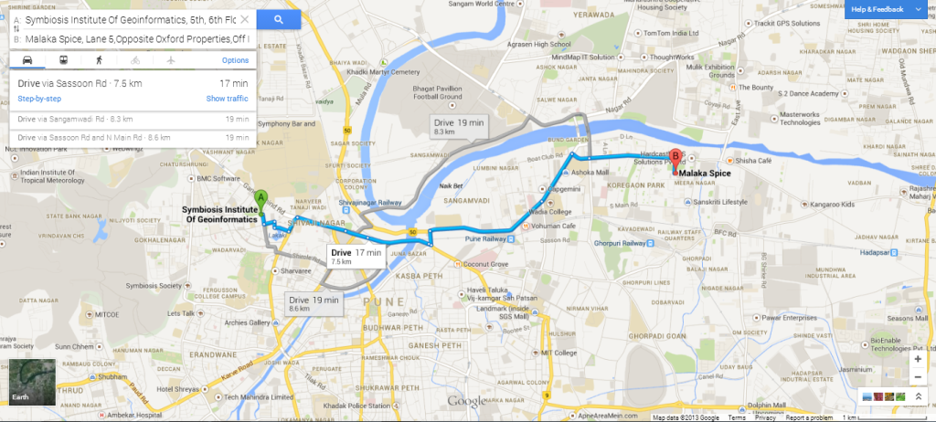 Driving route and directions in the new Google Maps