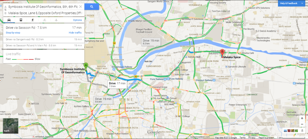 Live traffic in the city of Pune