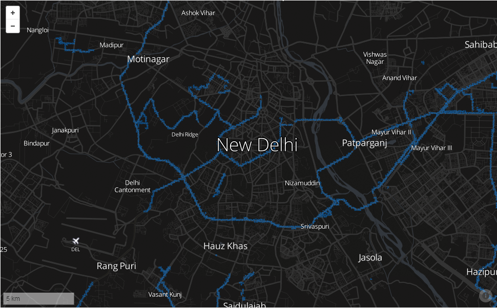 WiFi coverage in New Delhi with Mozilla Location ServiceWiFi coverage in New Delhi with Mozilla Location Service